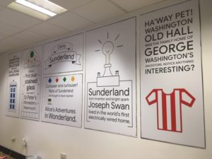 Training room wall at Google Digital Garage Sunderland